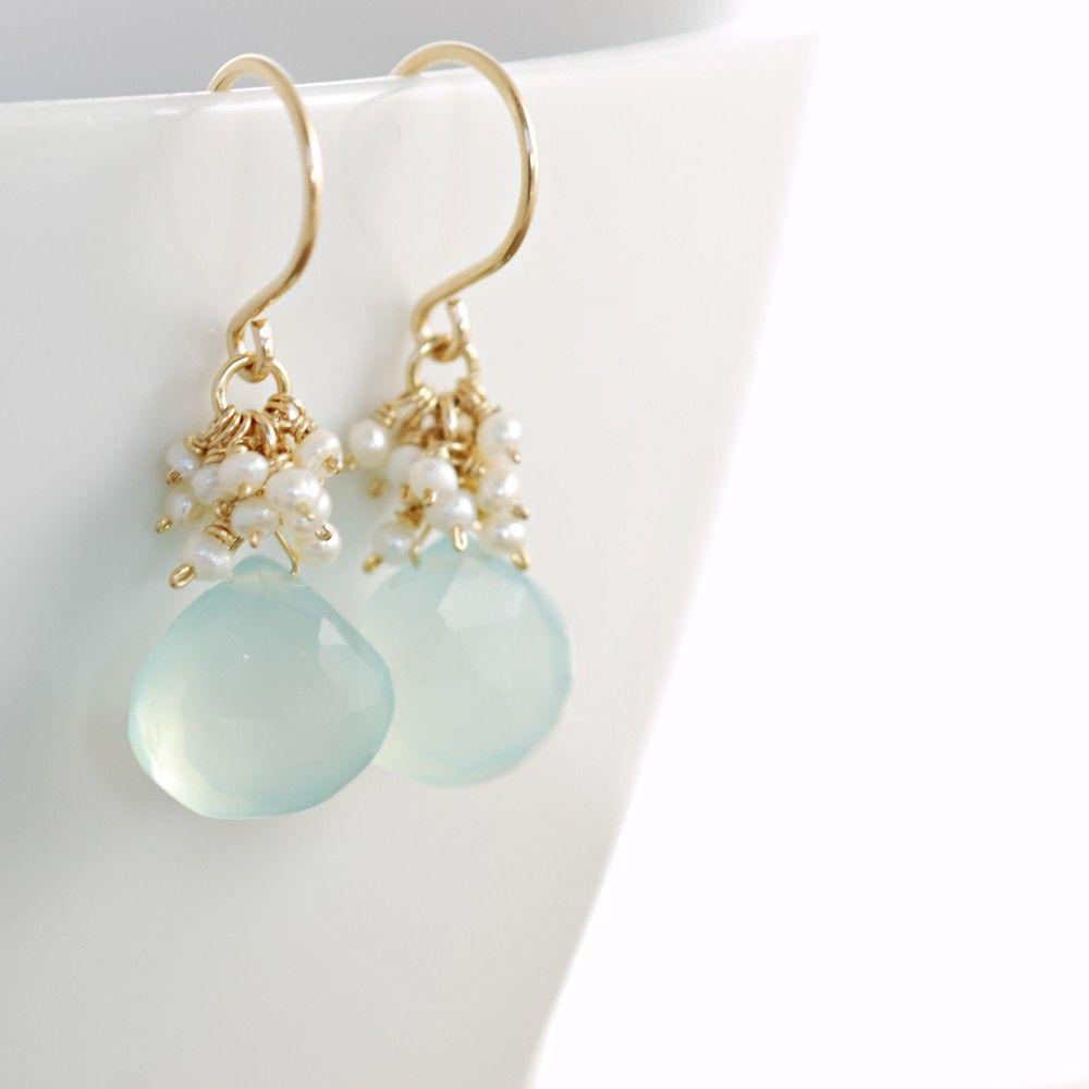 Photo of Seafoam Chalcedony Seed Pearl Earrings, Handmade Gold Dangle Earrings with Pearl Clusters, March Birthstone Jewelry, aubepine