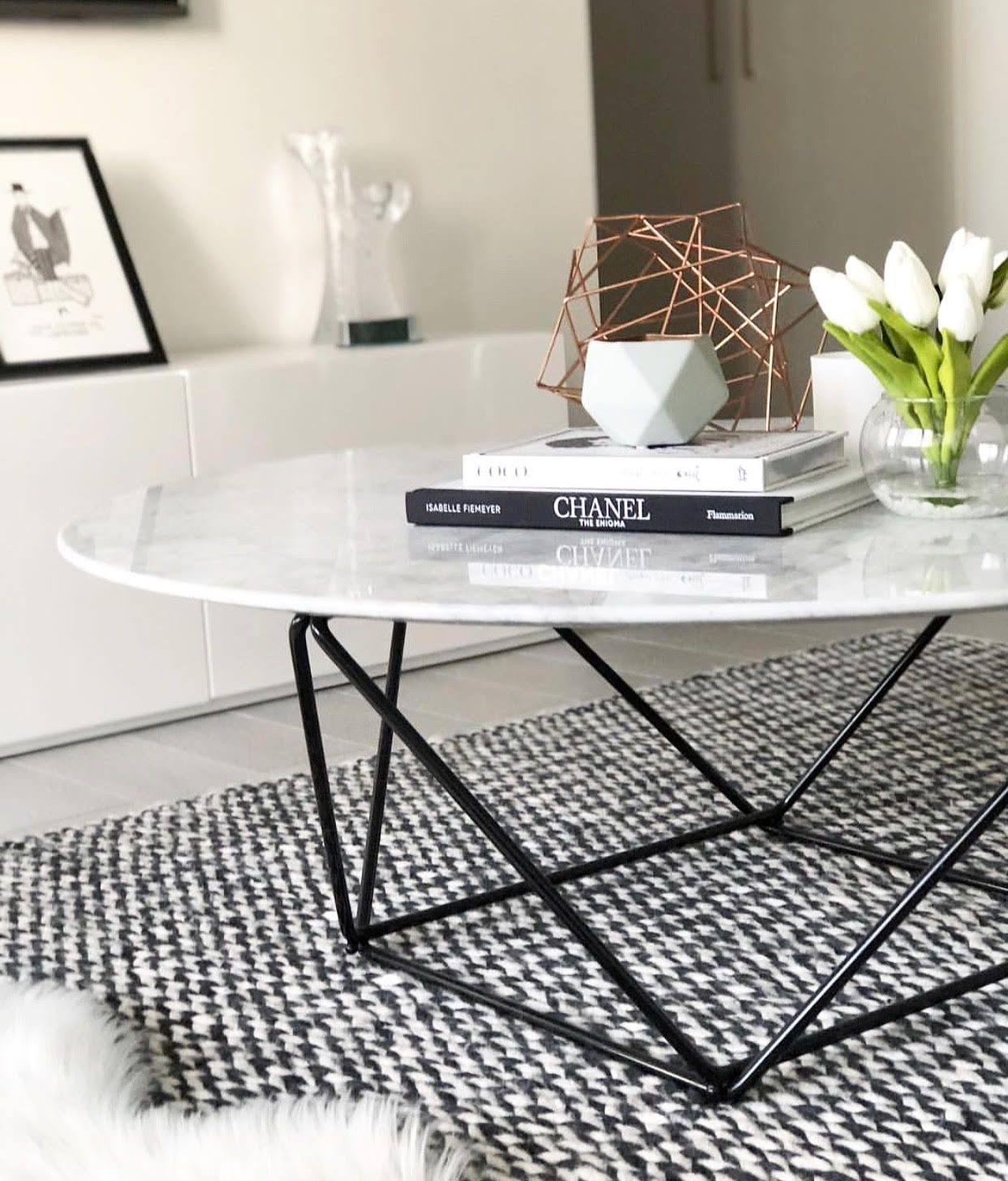 Robin 100cm Round Marble Coffee Table With Black Base In 2020