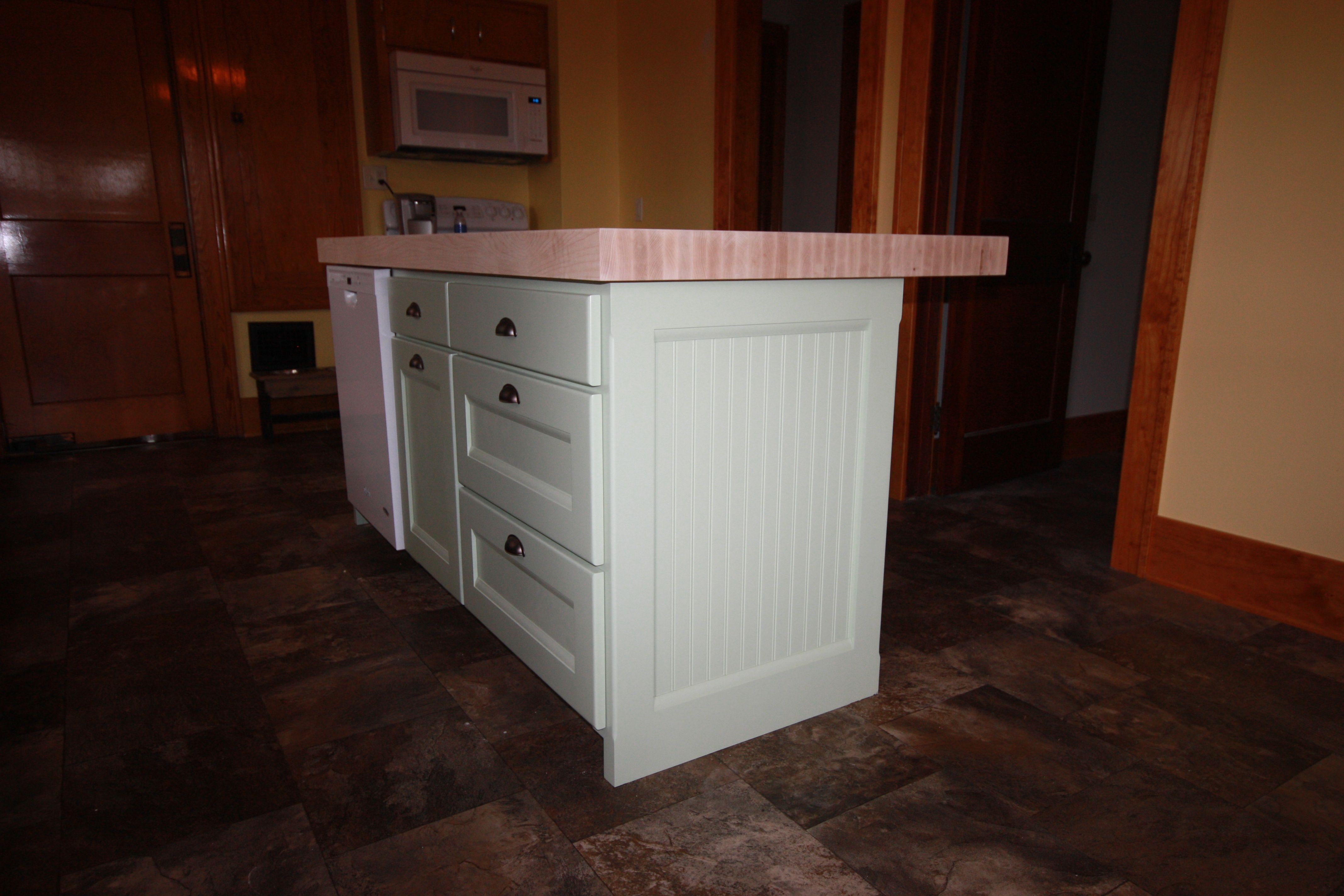 Maple Island With Custom Color Varnish And Butcher Block