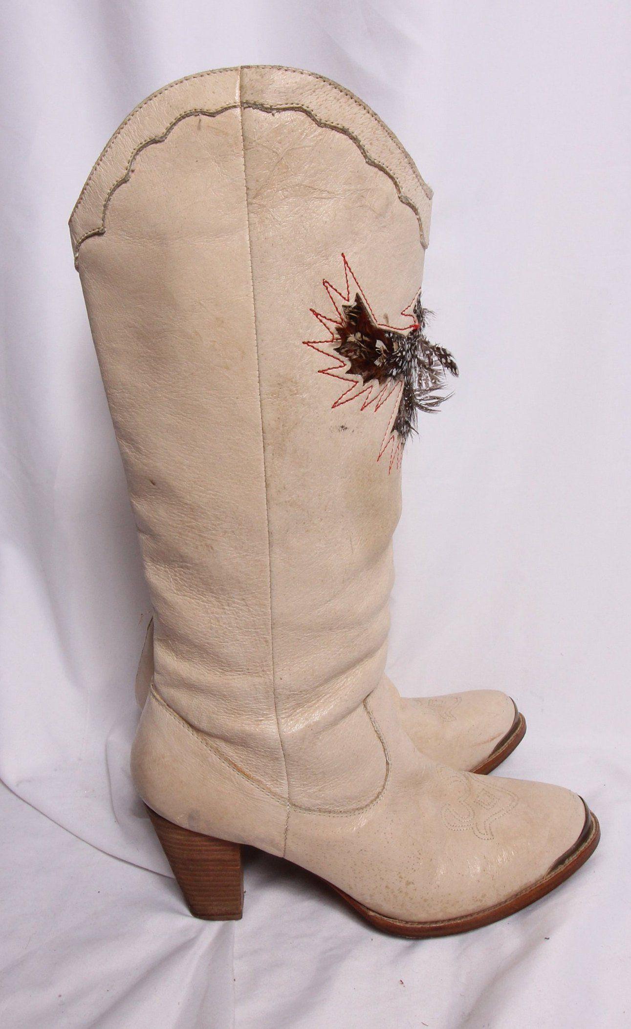 4833b618c5d Vintage 'Sam Edelman' Zodiac Inspired Tall Cowboy Boot | Feather ...