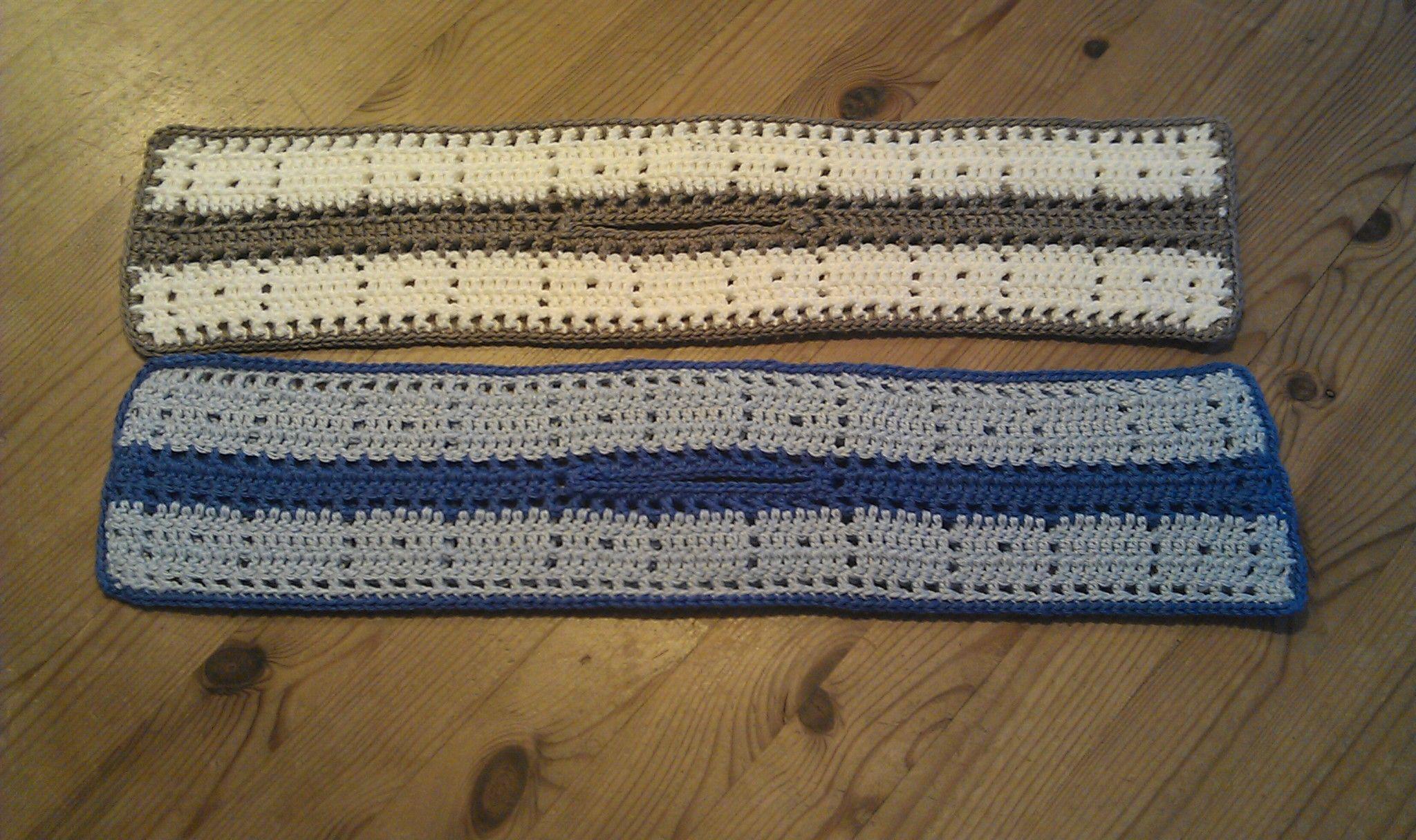 Pannenlappen Langwerpig Blauw En Crème Haken Door Wilma Crochet