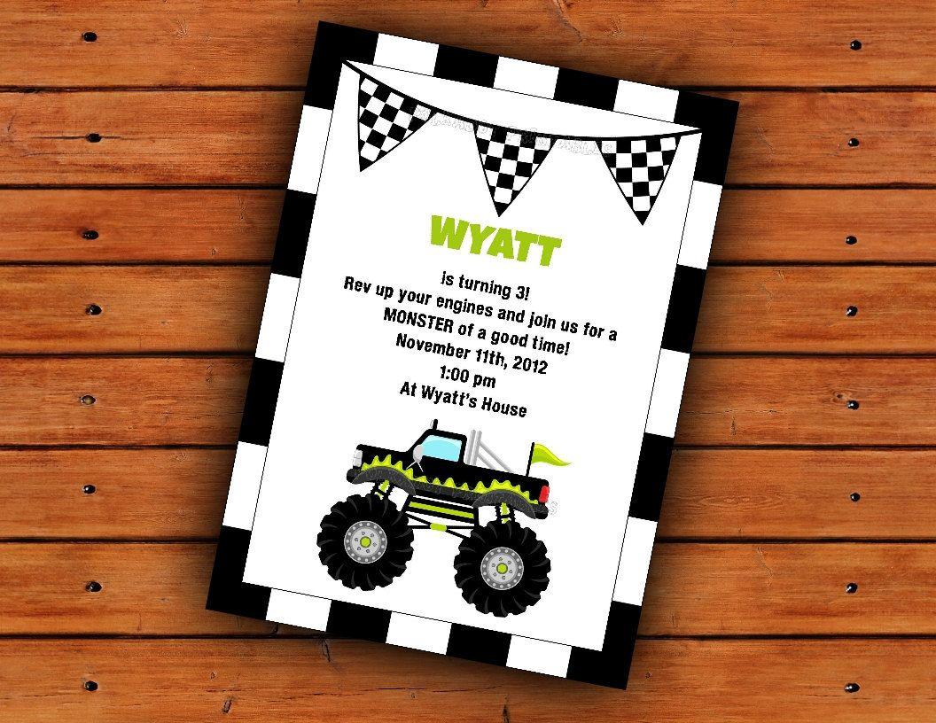 Monster Truck Party Invitation 5x7 Printable Digital File ...