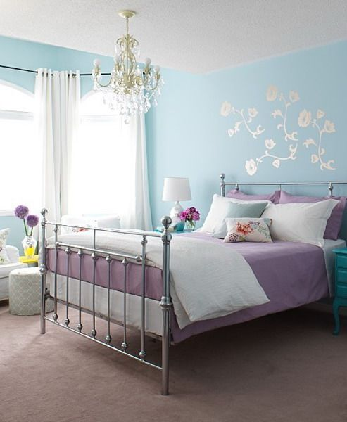 Great Room For A Pastel Blue Walls Purple And White Bedding Crystal Chandelier Love Lauren