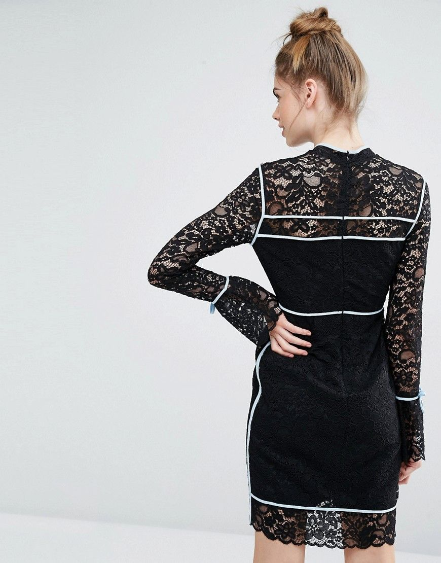 Image 2 ofSportmax Code Augusto Lace Bell Sleeve Dress With Blue Piping