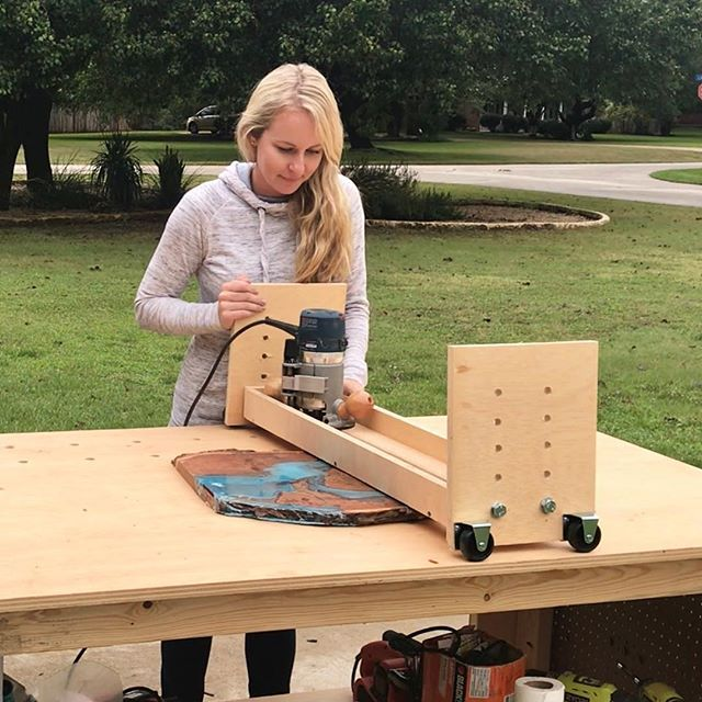 "Photo of Suzie | The Accent Piece on Instagram: ""Today, I'll be planing this live edge resin pour  with the recently finished router sled. (This picture was intentionally taken beforehand…"""