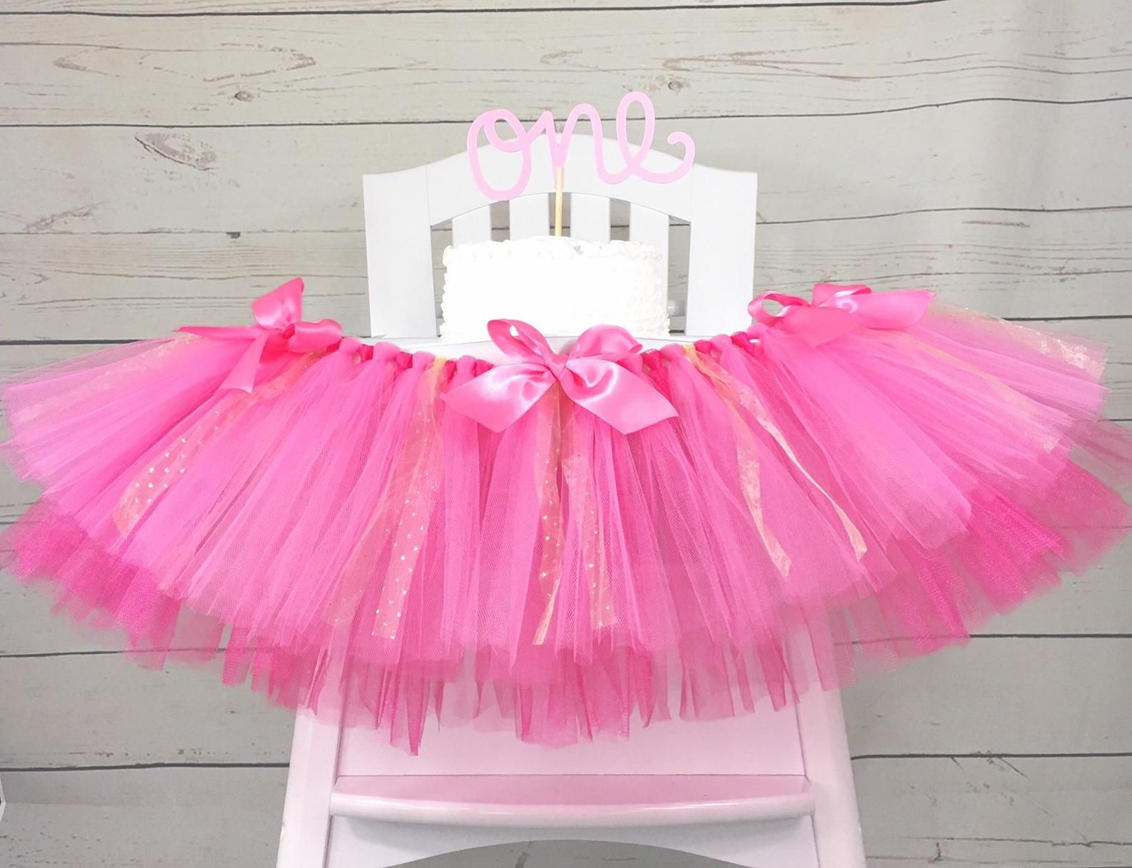 Hot pink pink and gold sparkle birthday high chair tulle