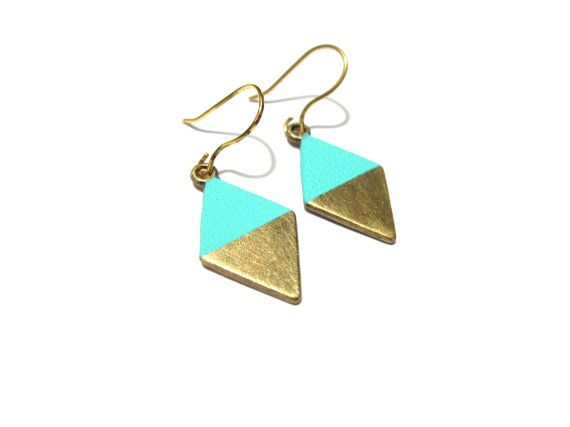 Geometric earrings are painted by gold and aqua green (mint) glaze. Coated with a protective varnish. + pendant size 14x20mm + packaged in a