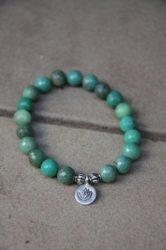 Chrysoprase Mala Bracelet With Silver Lotus Charm Mediation Inspired Yoga Beads