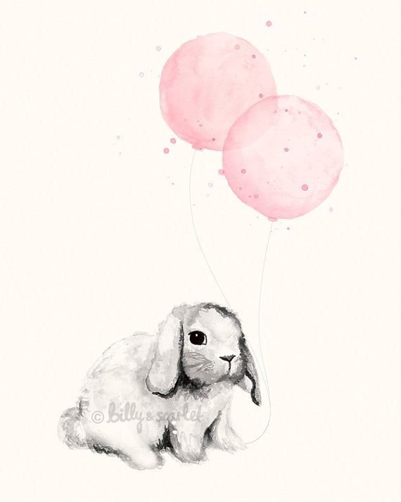 Watercolour nursery art print of bunny and balloons in for Baby girl nursery paintings