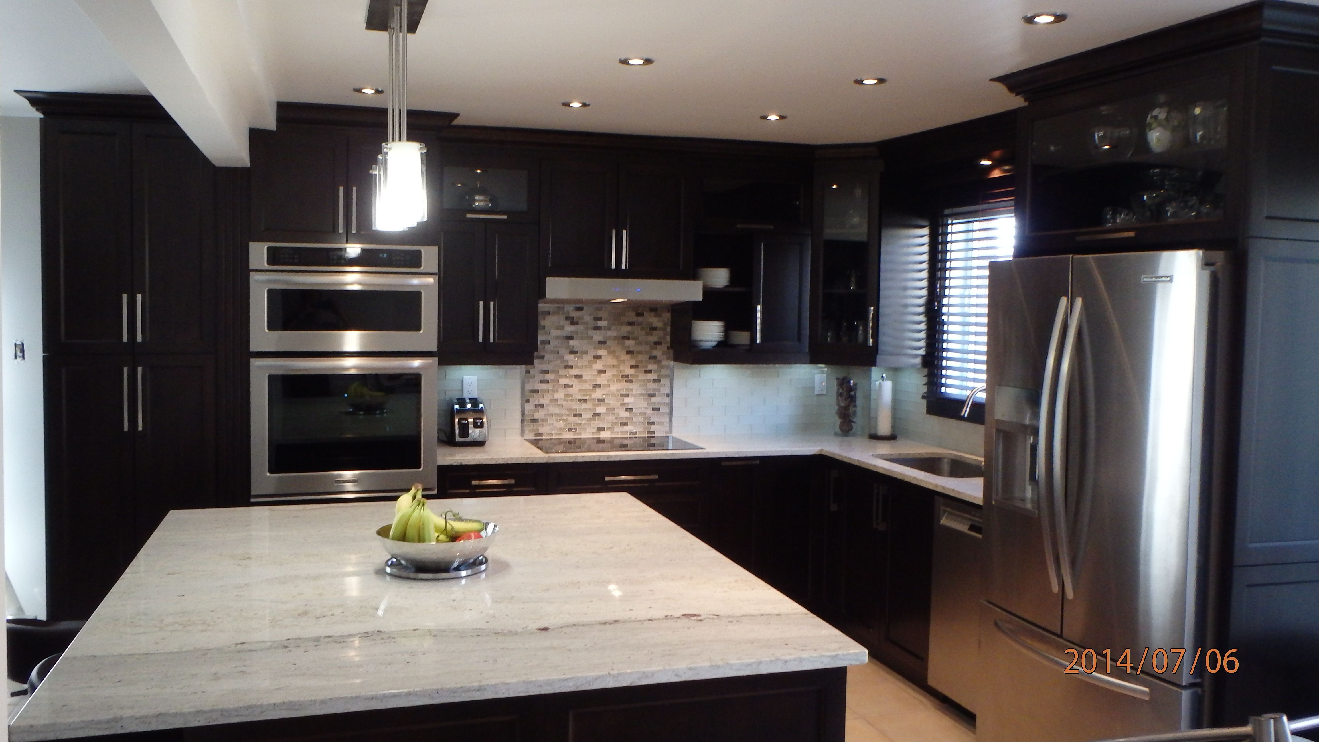 Best Chocolate Brown Maple Cabinets River White Countertop 640 x 480