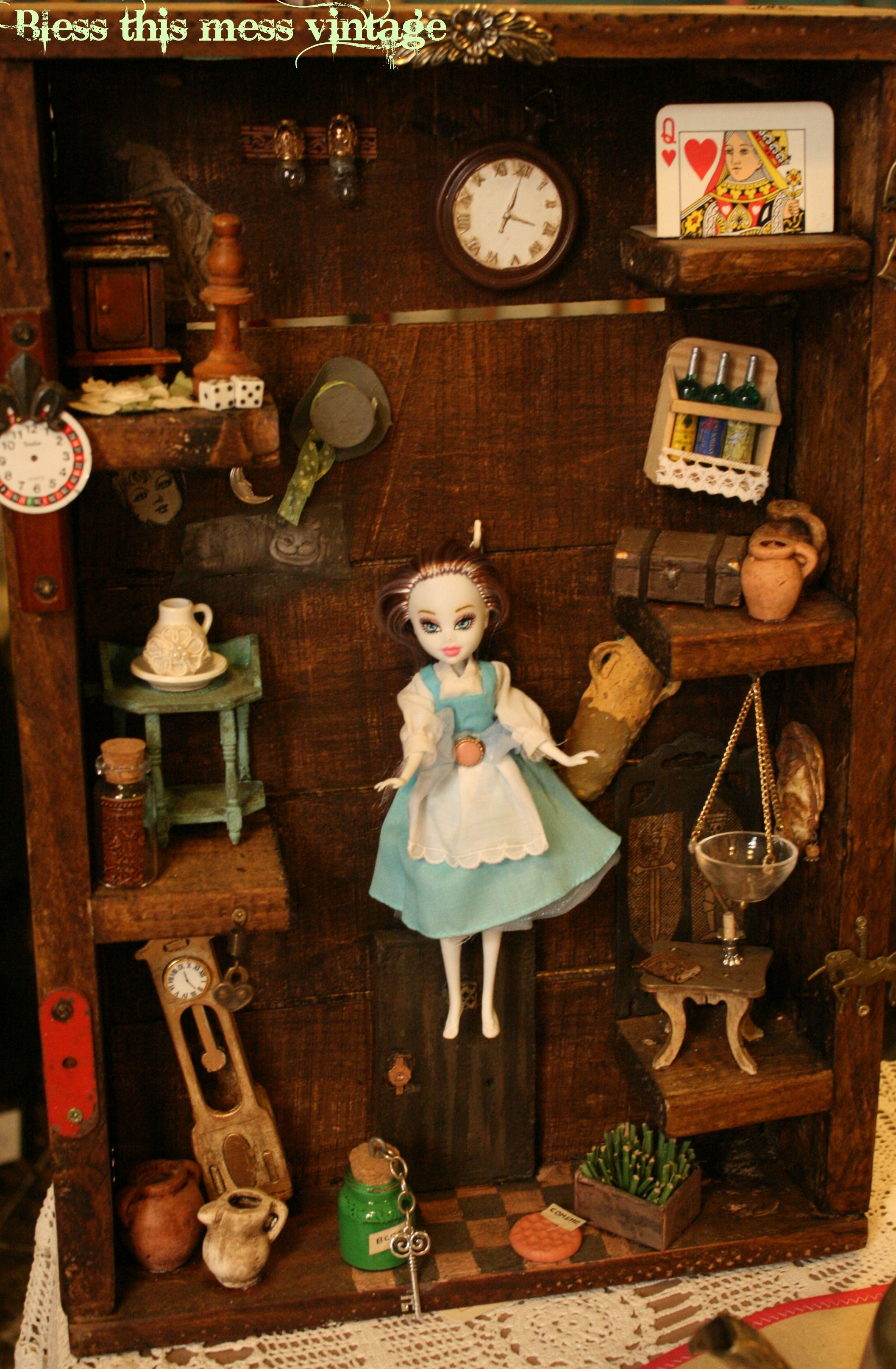 alice in Wonderland - assemblage art in a box - vintage-like collection of artefacts inspired by Alice in Wonderland