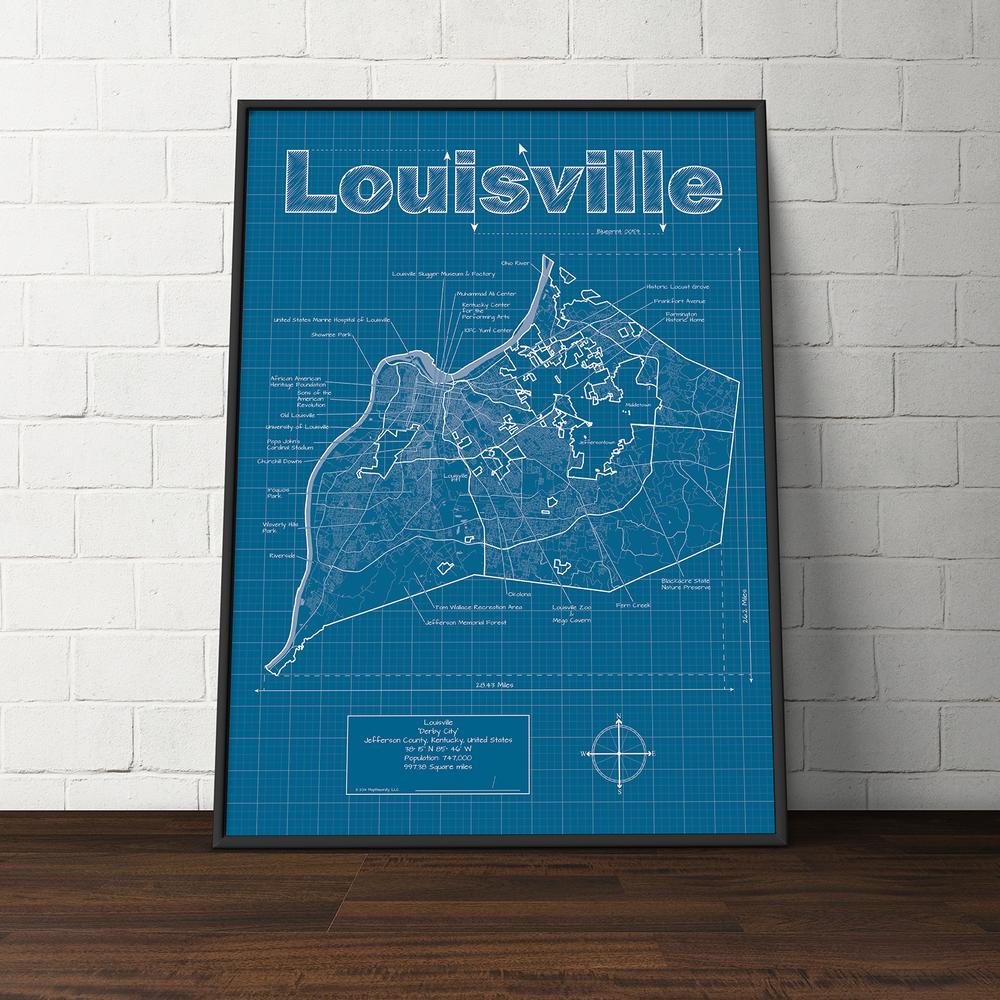 Louisville kentucky artwork artwork louisville city blueprint maphazardly malvernweather Image collections
