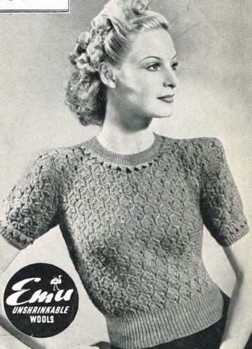 1d7a10a71 Vintage 1940s knitting pattern-ladies pretty lace stitch jumper -free uk  postage