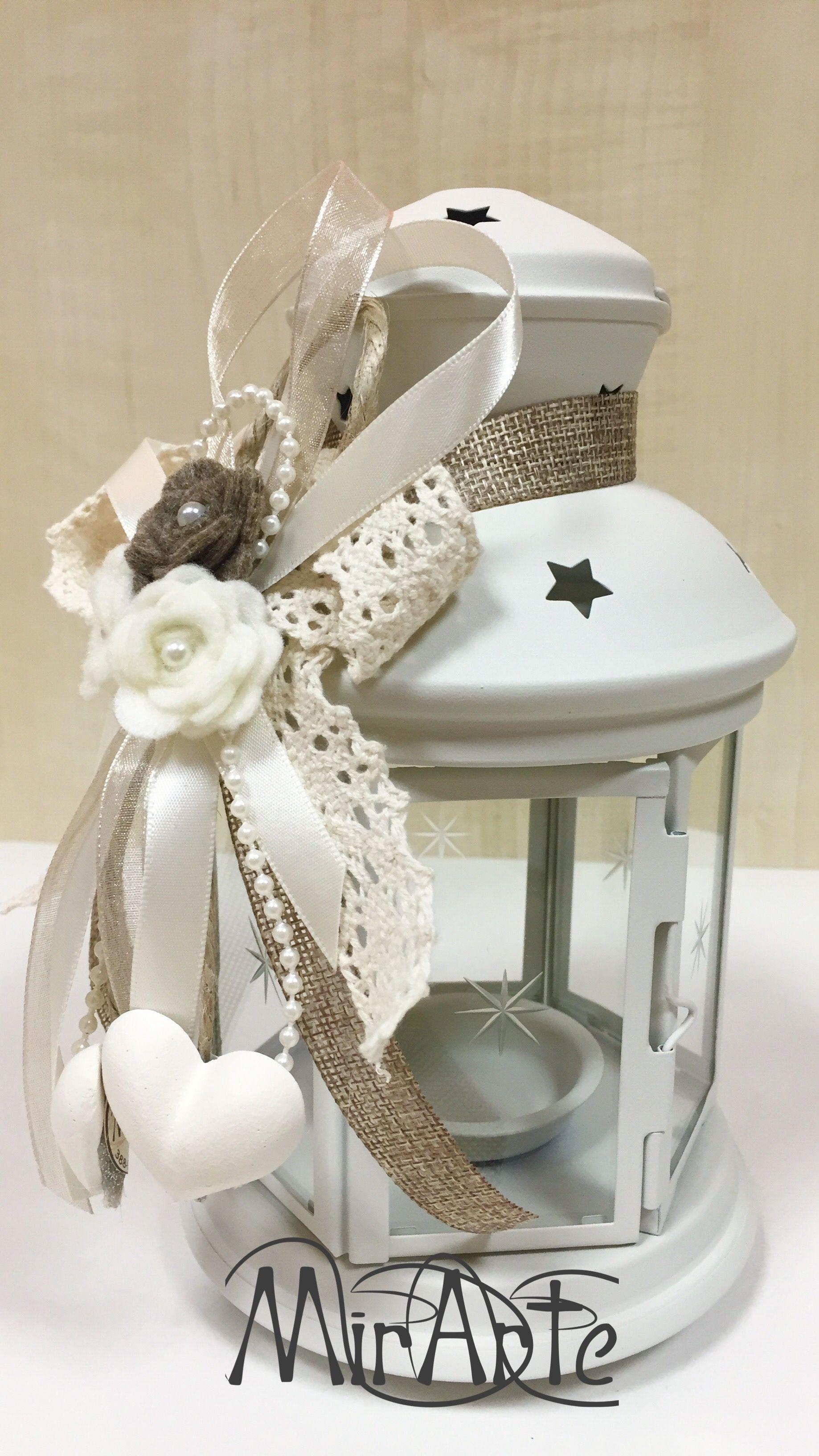 Lanterne Ikea adornate in stile Shabby Chic fiori feltro e cuori in ...