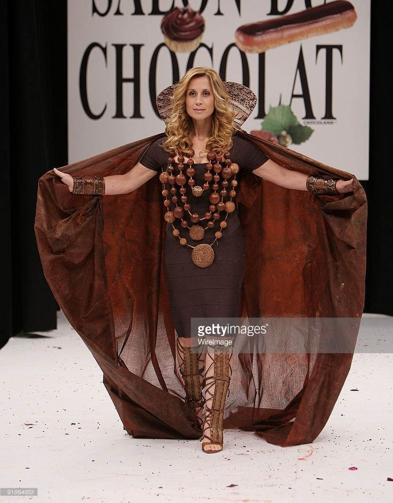 Lara Fabian displays a chocolate decorated dress during the ...