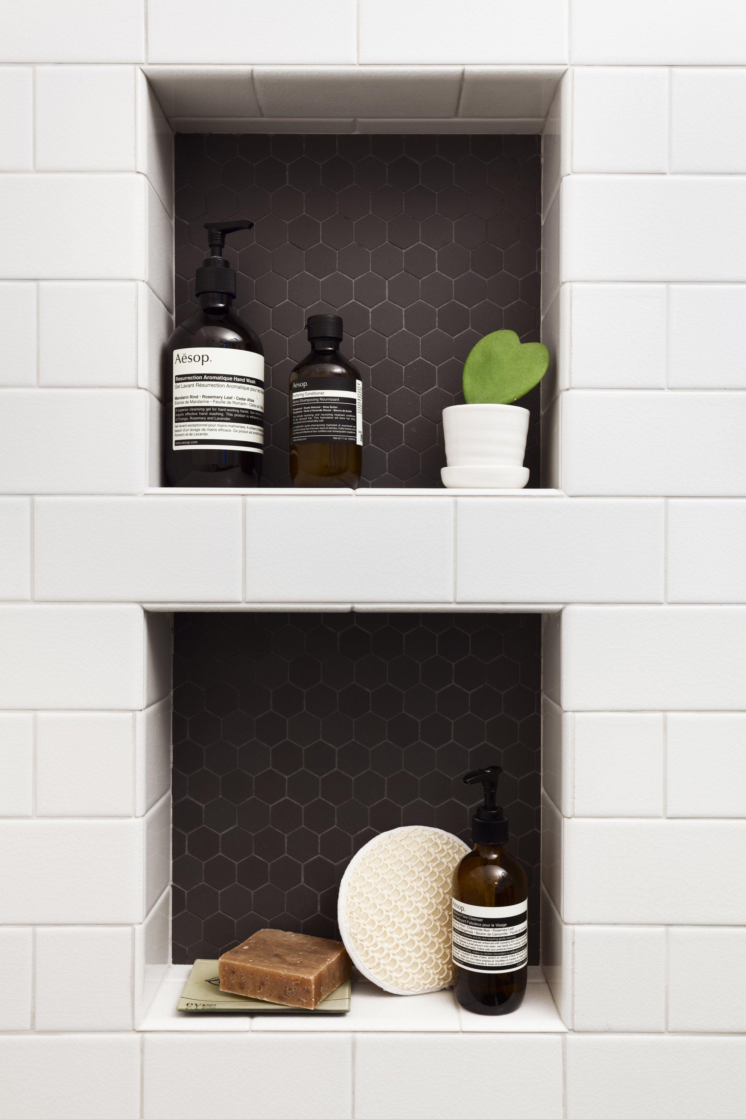 Black Hexagon Tile For The Shower Niche A Jennison Tile