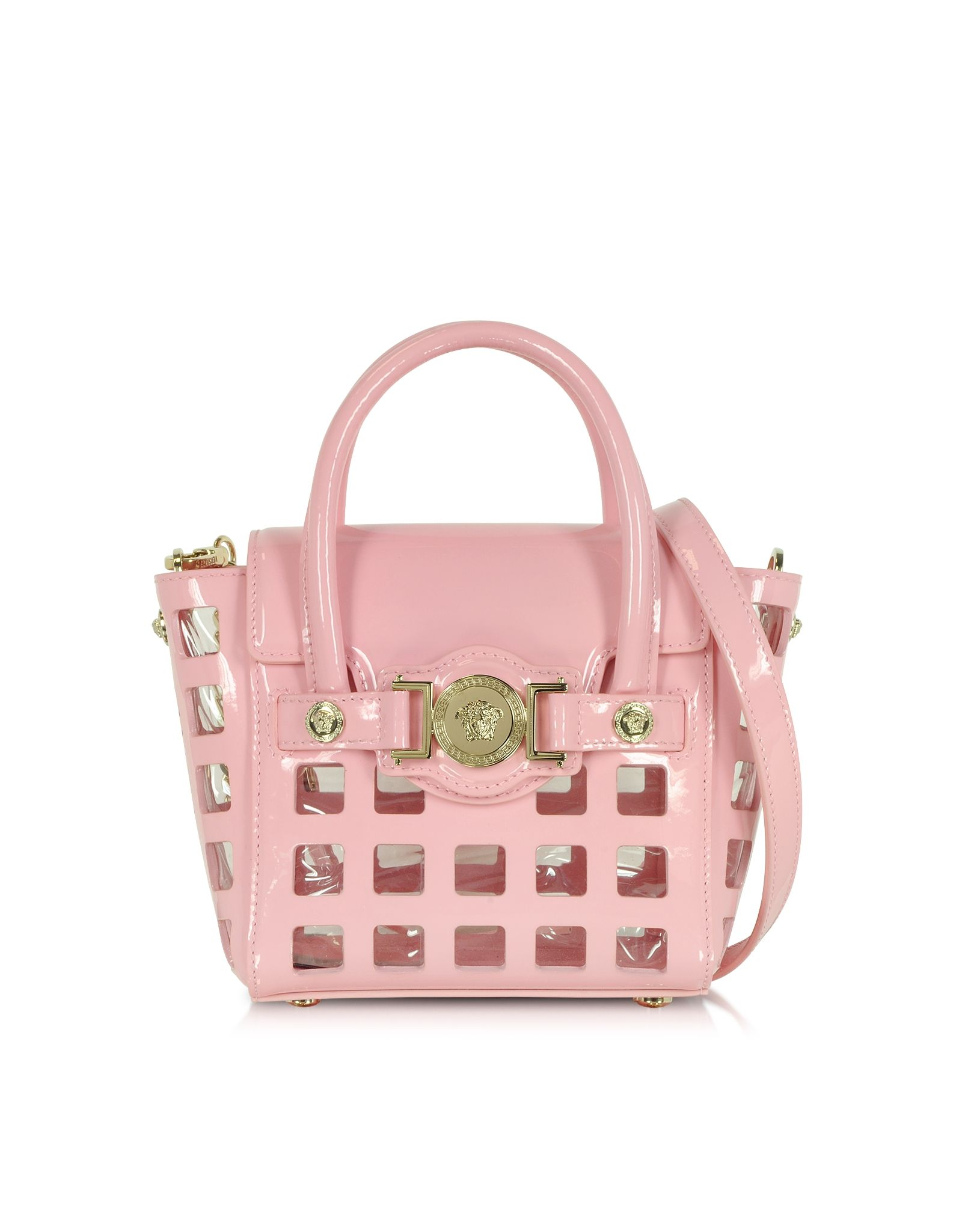ccbee871e1ae Versace L. Signature Pink Patent Leather Small Shoulder Bag ...