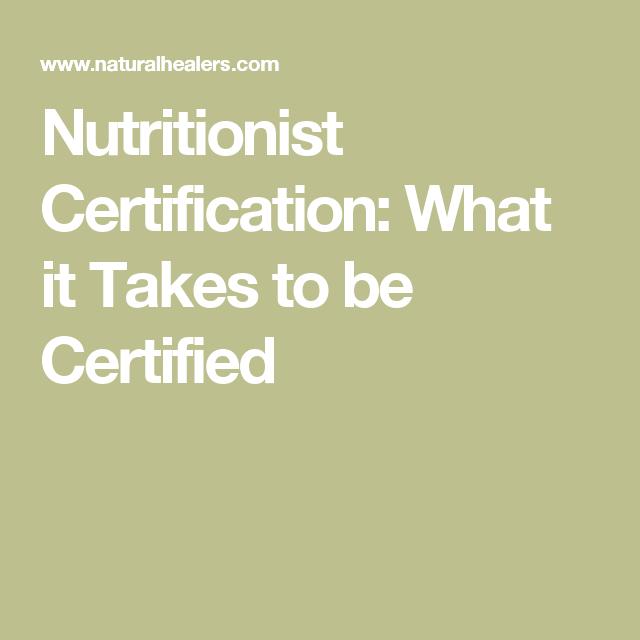nutritionist certification certified certificate