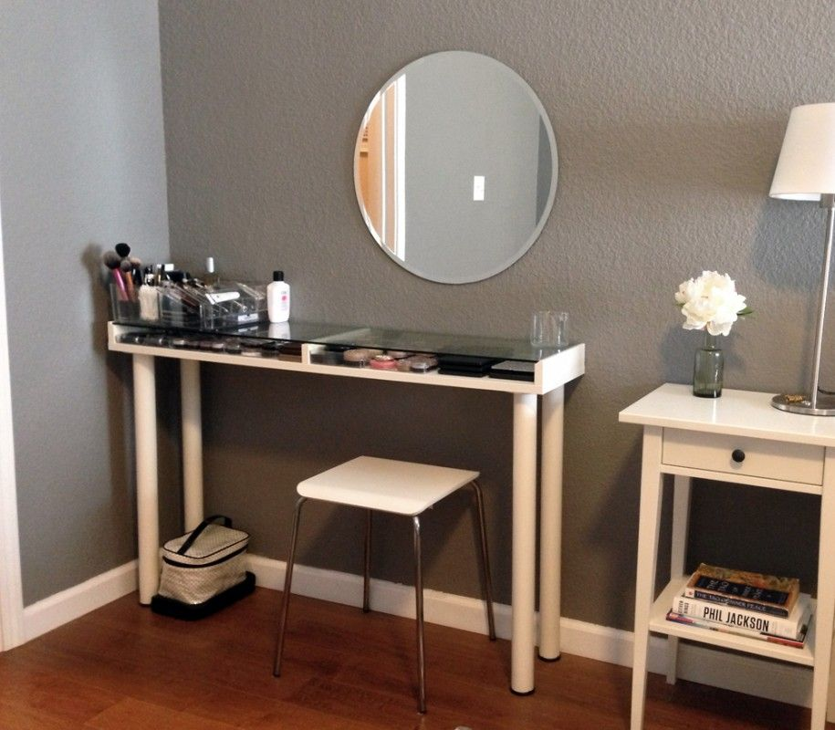 Furniture, Custom Corner Makeup Vanity Table With Makeup Storage Under  Glass Top Table With Wall Mounted Oval Mirror And Wood Table Lamp With  Drawer Ideas ...