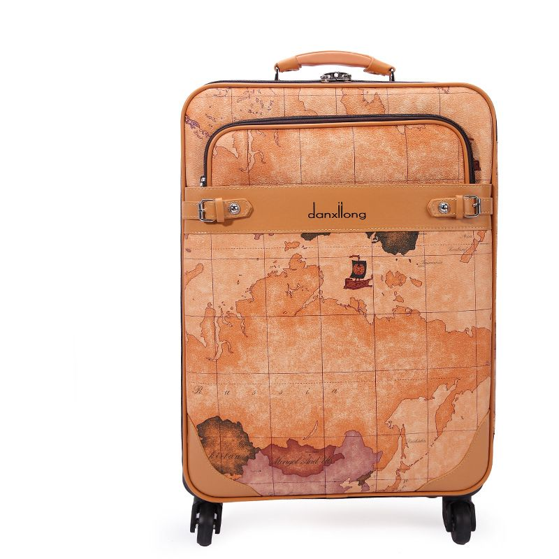 World Map vintage trolley luggage male universal commercial wheels luggage  travel bag suitcase female16 18 20 22 24 luggage sets    Shop 4 Xmas n 2018. 2da7e089ec5e3
