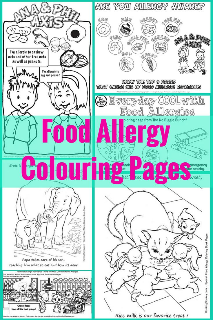 a collection of food allergy colouring coloring pages this happ