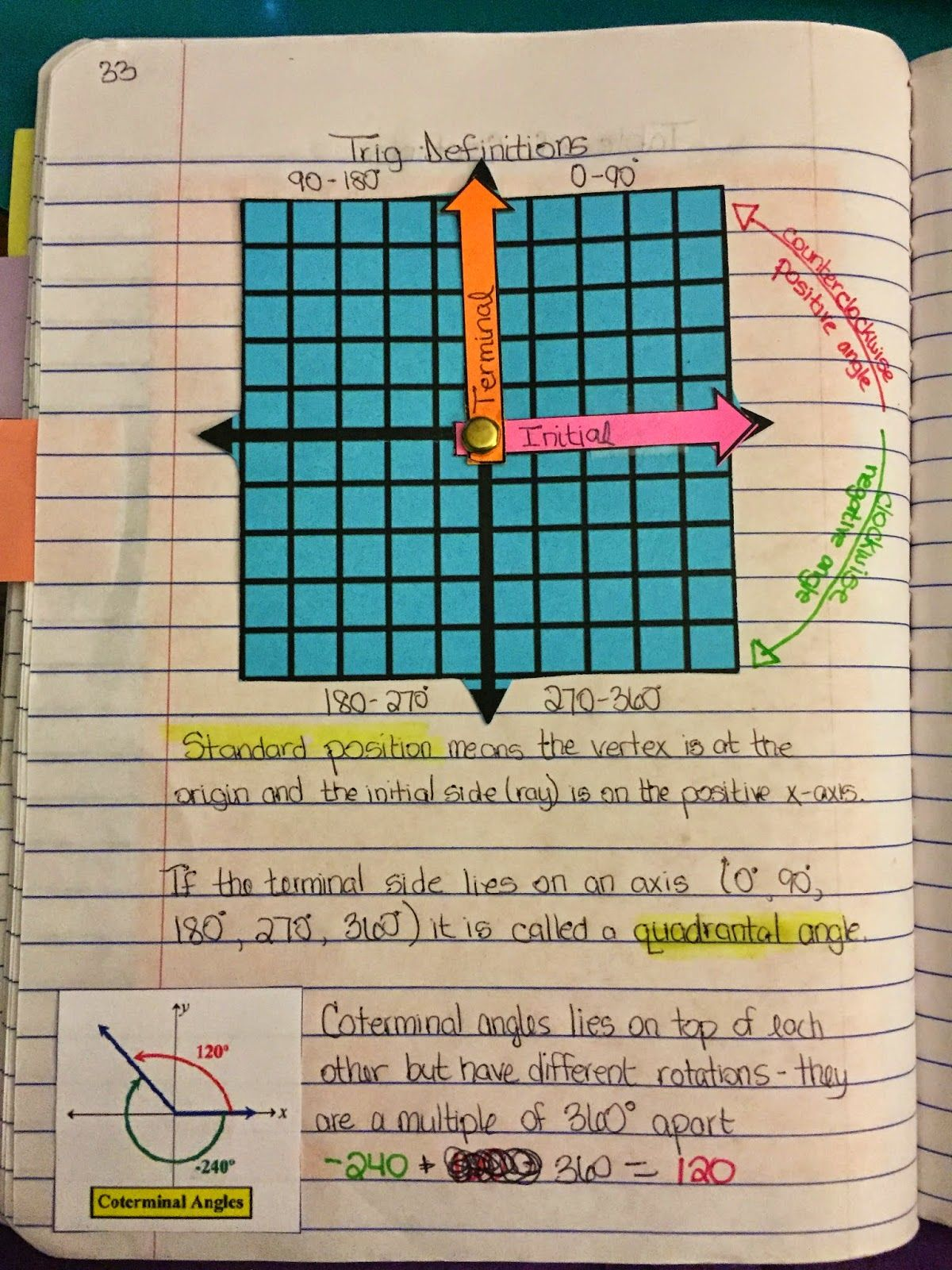 Unit 3: Trig Basics pg 33 We made our angles with a fastener and ...