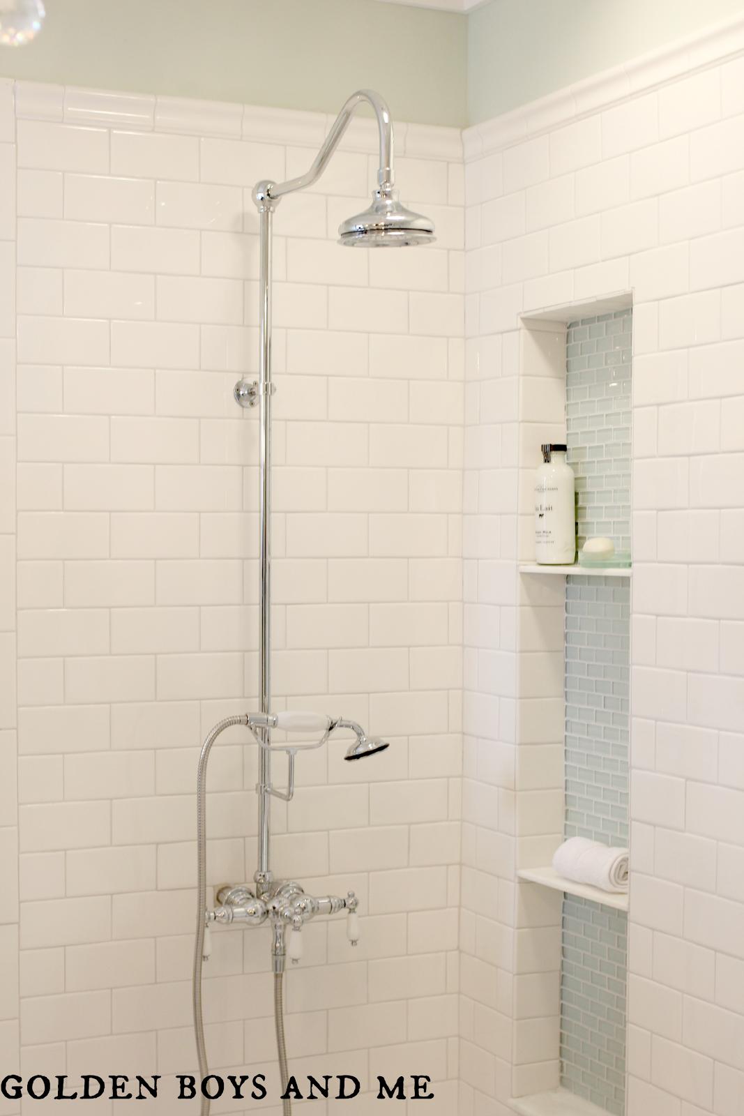 Master bathroom pedestal tub white subway tile carrera shower master bath white subway tile glass tile shower niche exposed shower dailygadgetfo Images