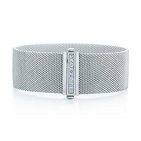 Tiffany Somerset Wide Bracelet In Sterling Silver With Diamonds Medium