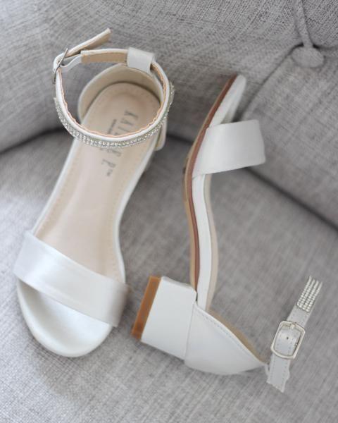 IVORY SATIN Block Heel Sandals in 2020