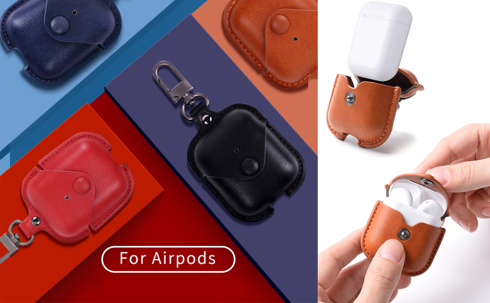 Hot Sale Shatter Resistant And Waterproof For Airpods 1 2 Leather Case Earphone Cover With Keychain Buy For App Leather Case Apple Airpods 2 Protective Cases