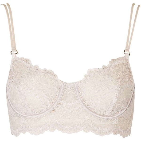 TopShop Scallop Lace Bralet (£10) ❤ liked on Polyvore featuring intimates, topshop, stone and underwire bra