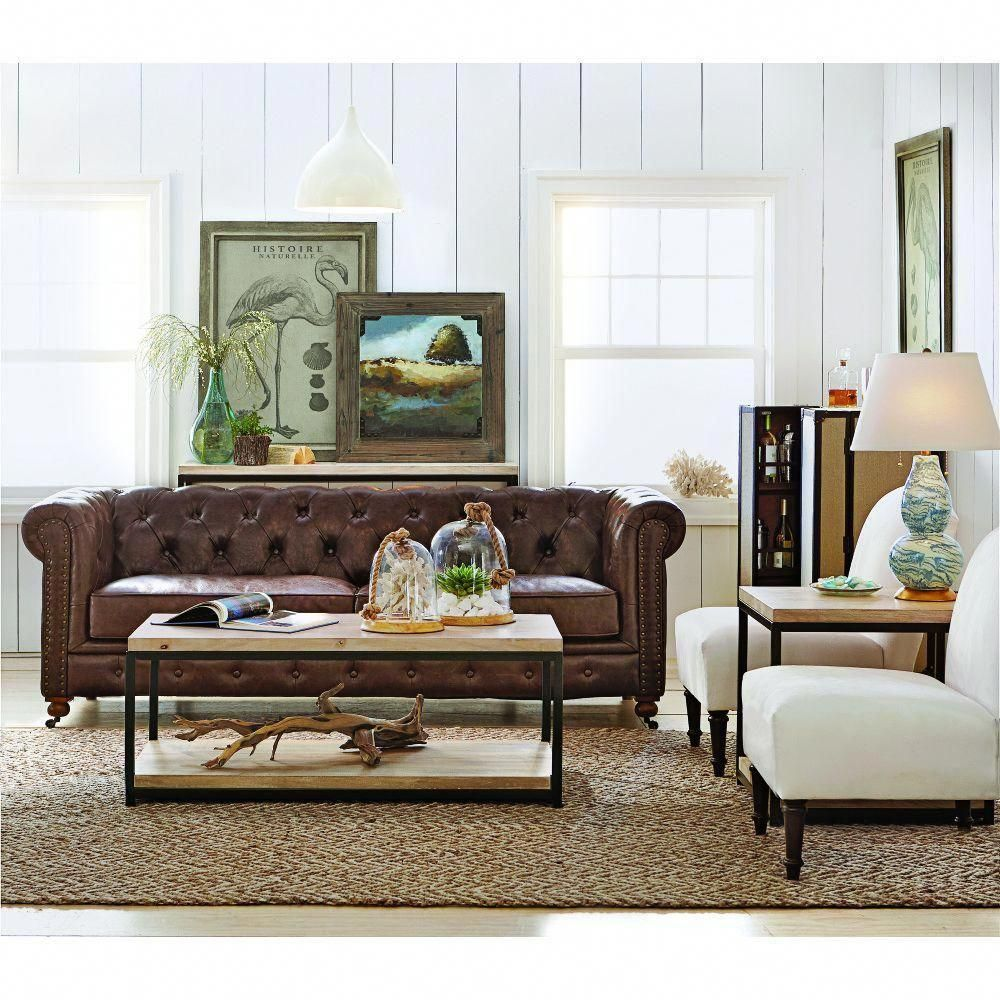 Home Decorators Collection Gordon Brown Leather Sofa ...