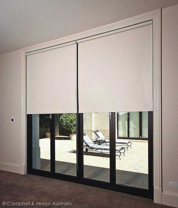 australian made cream roller blinds block out fabrics chain operated over bifold doors