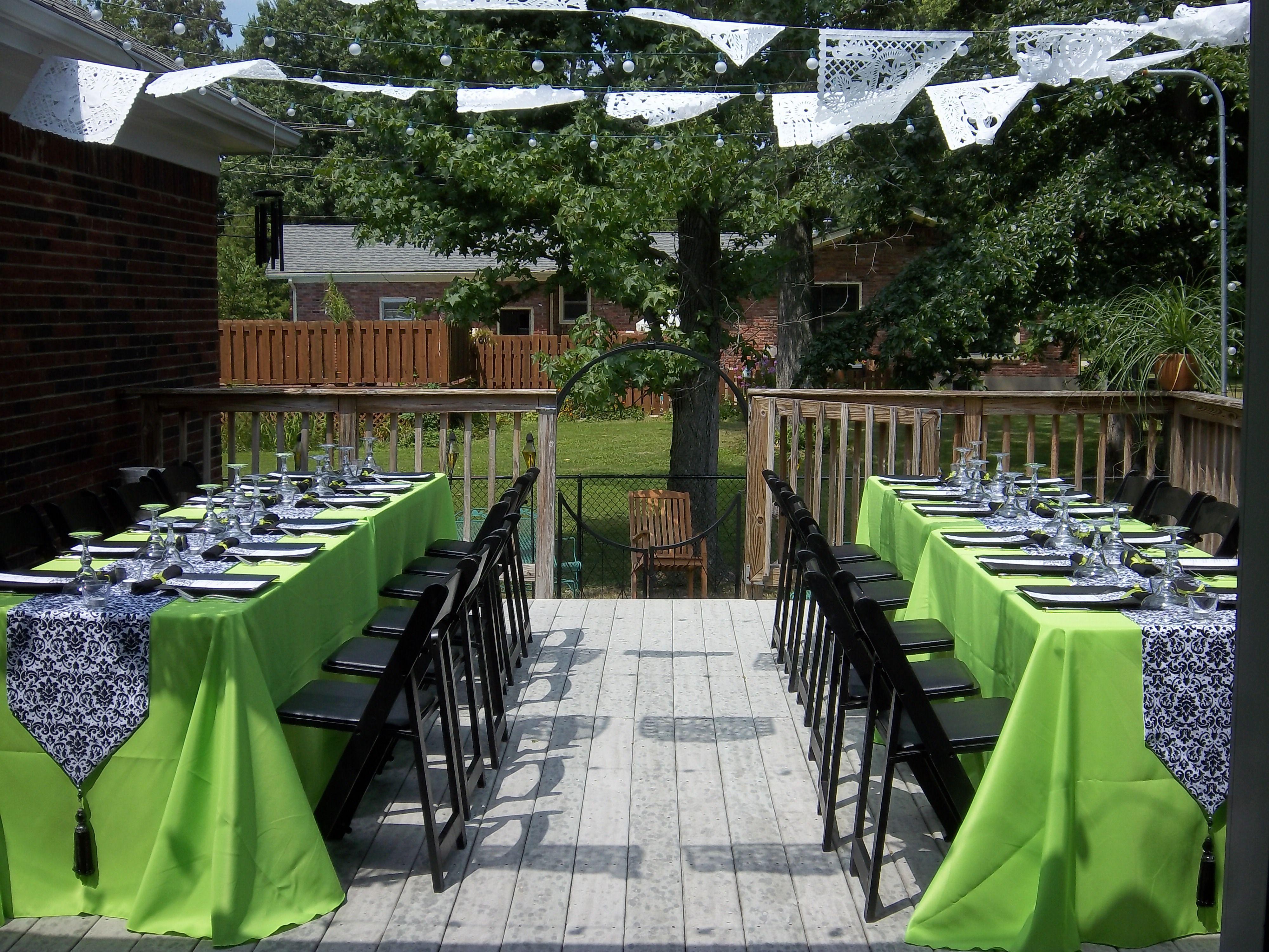 Bridal Shower - Lime Green & Black Table Setting ...