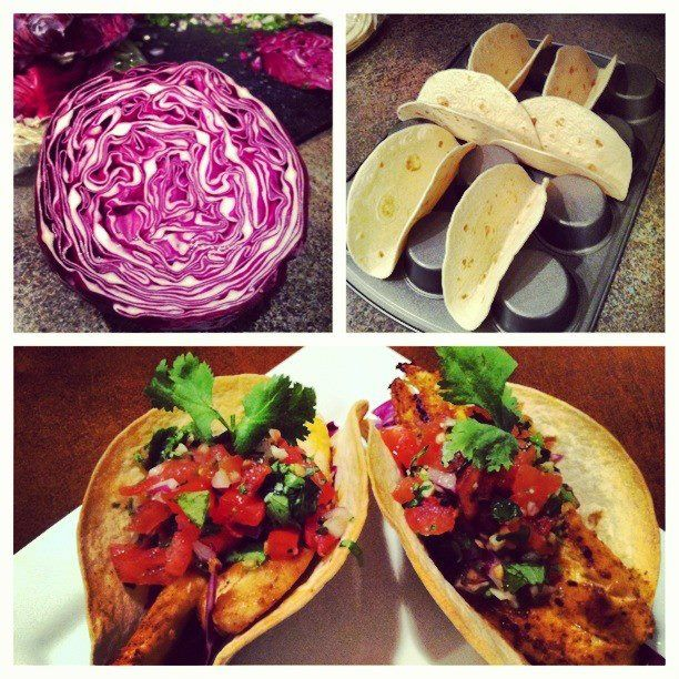 Chili-dusted fish tacos. Per taco: 224 calories / 4g fat / 30g carbs / 17g protein. **Seared tilapia, homemade salsa (diced tomatoes and onions, fresh garlic, cilantro, lime juice, salt, pepper), red cabbage, and whole wheat baked tortillas**  Find other great recipes along with nutrition information and awesome nutrition-related services to help you in your health/weight goals at: www.clean-plate-club.com