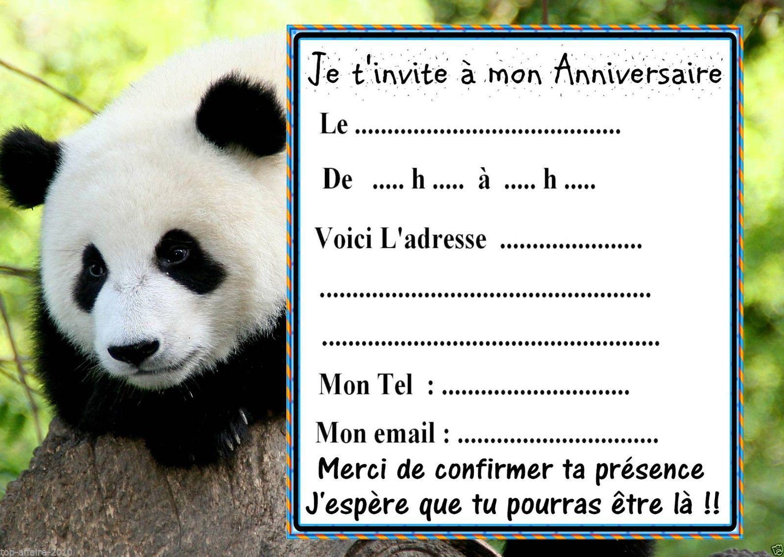 5 cartes invitation anniversaire panda