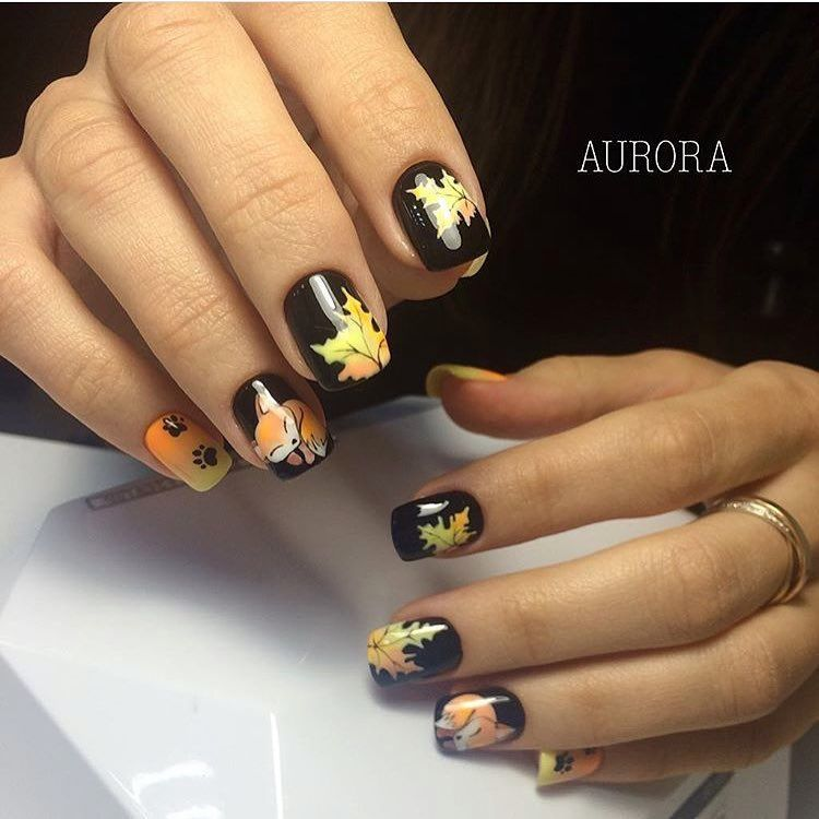 Autumn nails, Autumn nails with a pattern, Autumn nails with leaves, Beautiful autumn nails, Bright fall nails, Dark autumn nails, Fall nail ideas, Fall nails 2016