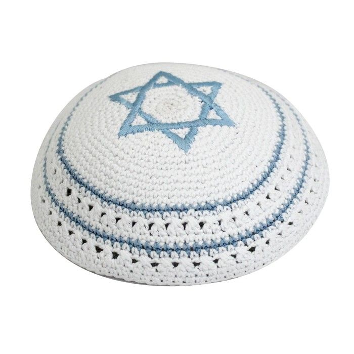 Knitted Kippah in White with Light Blue Star of David and Stripes ...