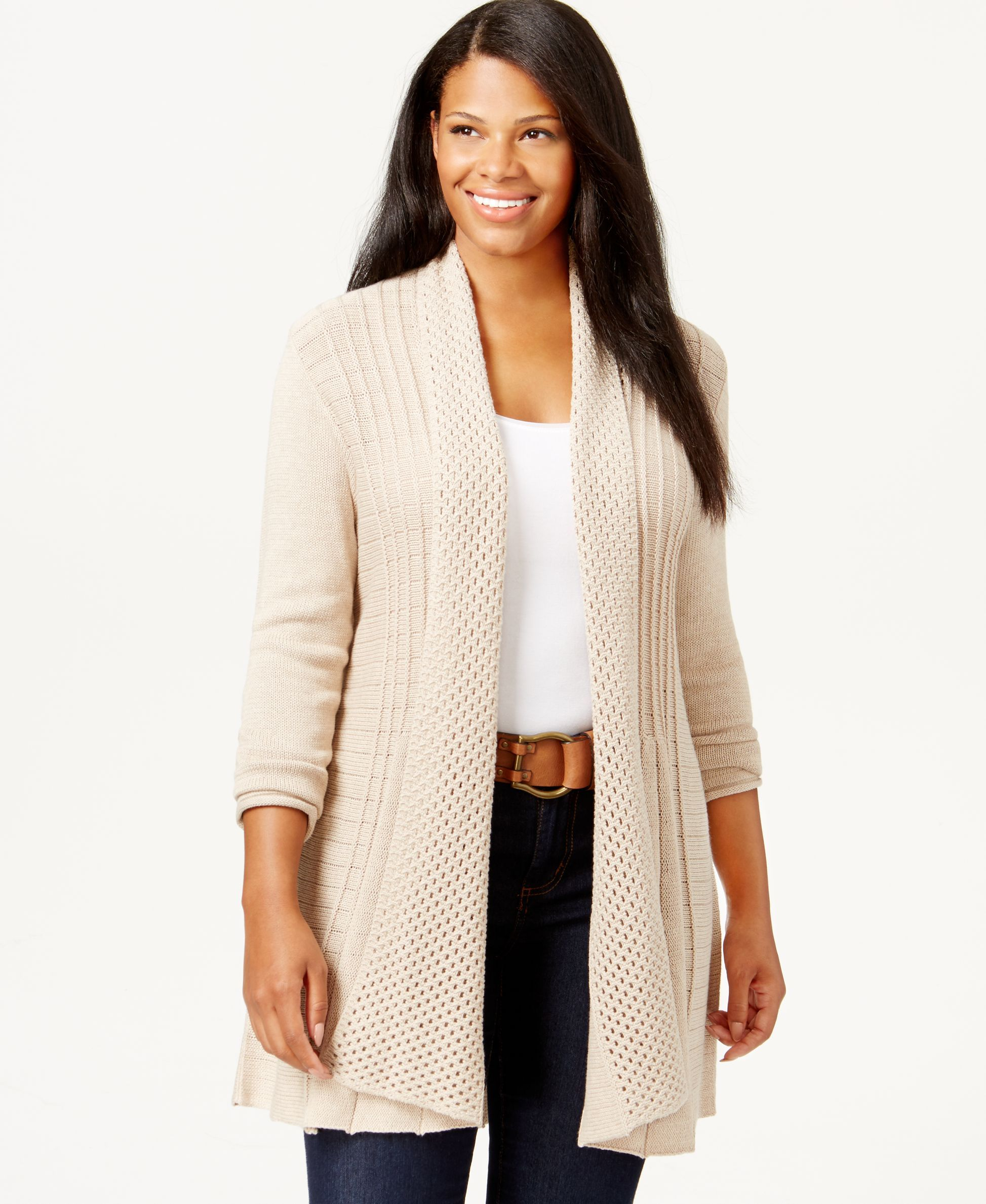 NY Collection Plus Size Pointelle-Knit Duster Cardigan | Ny ...