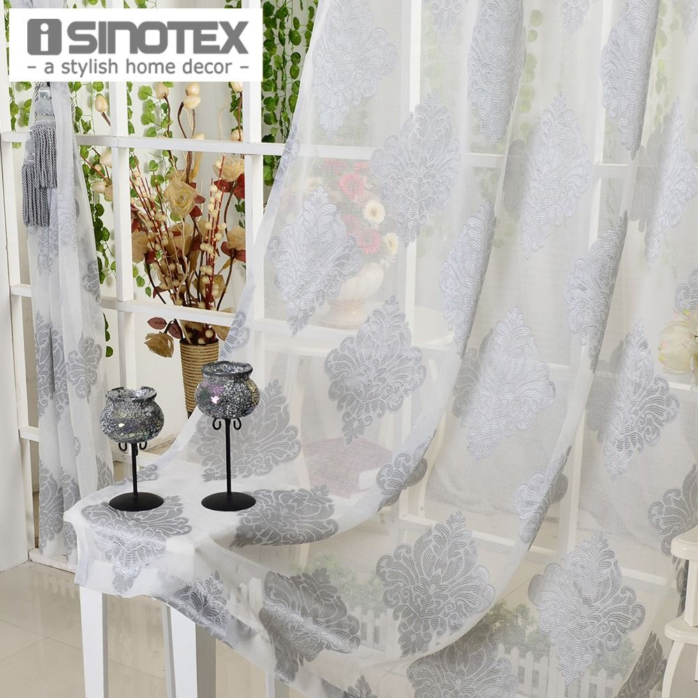 Window curtain grey luxury tulle voile fabric for curtains living