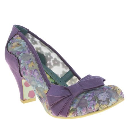 Womens Irregular Choice Purple Ic Palm Cove Floral Low Heels
