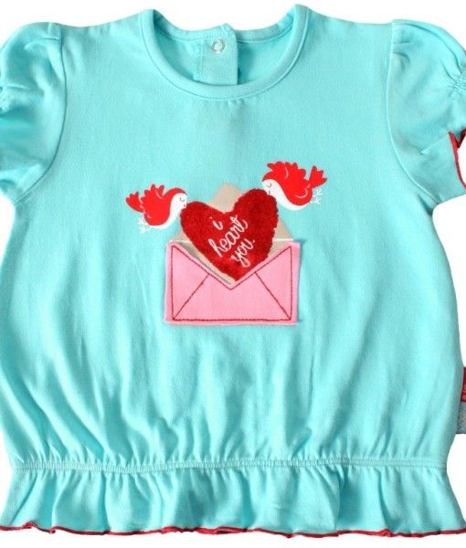 Girls Toddlers Love Hearts Embroidery Red Ruffle Shirt Ages 12-24M
