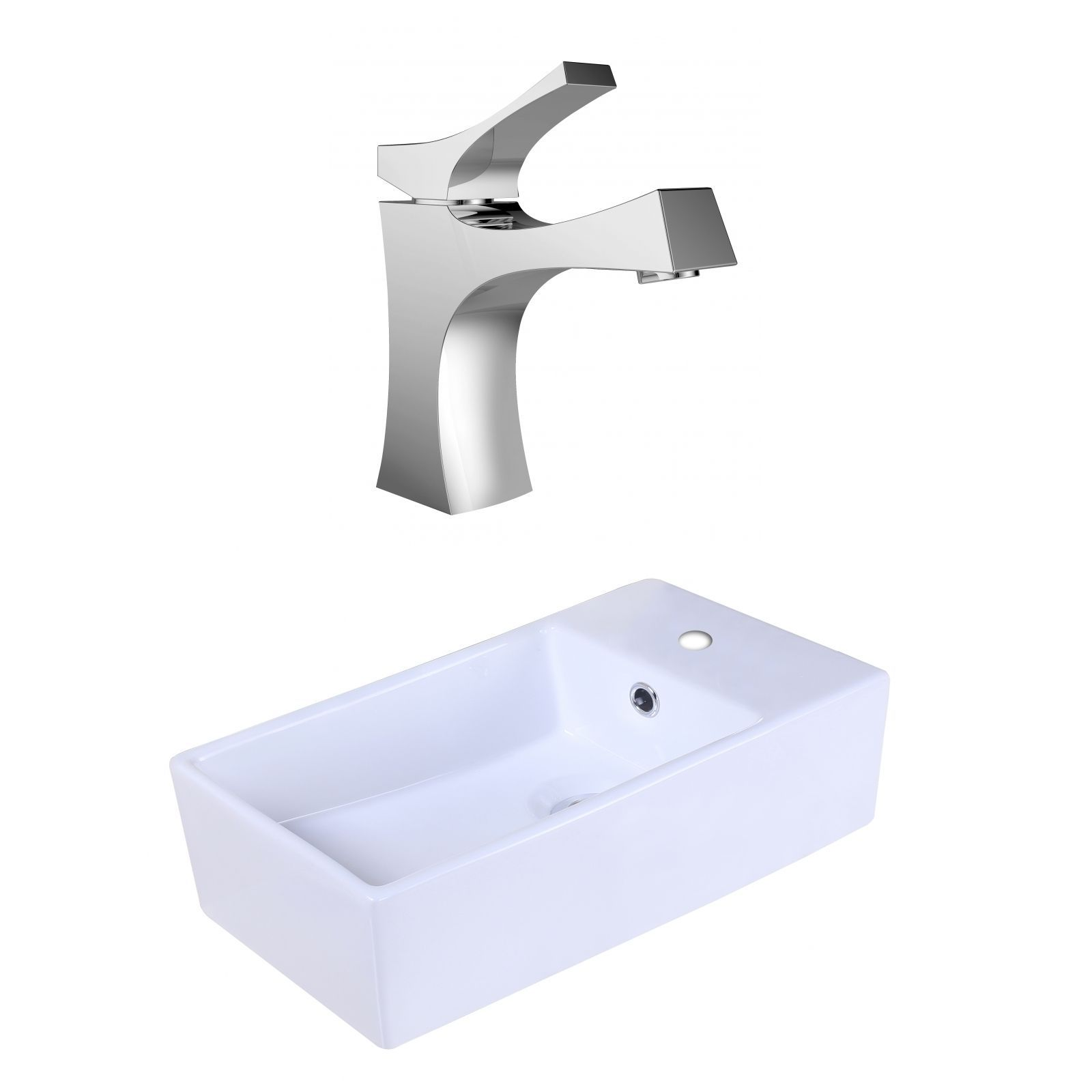 American Imaginations 18.9-in. W x 9.45-in. D Rectangle Vessel Set In Color With Single Hole Cupc Faucet
