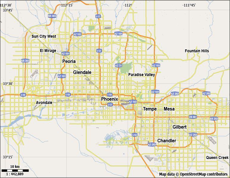 Free Phoenix Vector City Street Map For Use In Adobe Illustrator - Phoenix us map