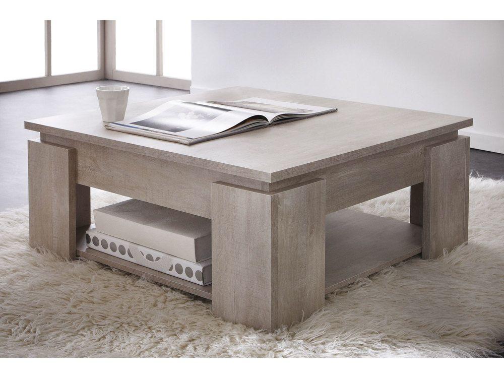 Table Basse Carree En Bois A Double Plateau Longueur 80 Cm Segur Couchtisch Quadratisch Wohnzimmertische Couchtisch Design