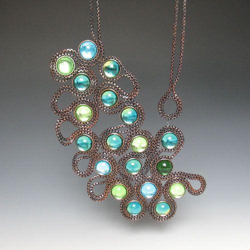 Tamara Grüner  Necklace: Montana Blue 2012  Historical metal plate - blackened, glass, silver
