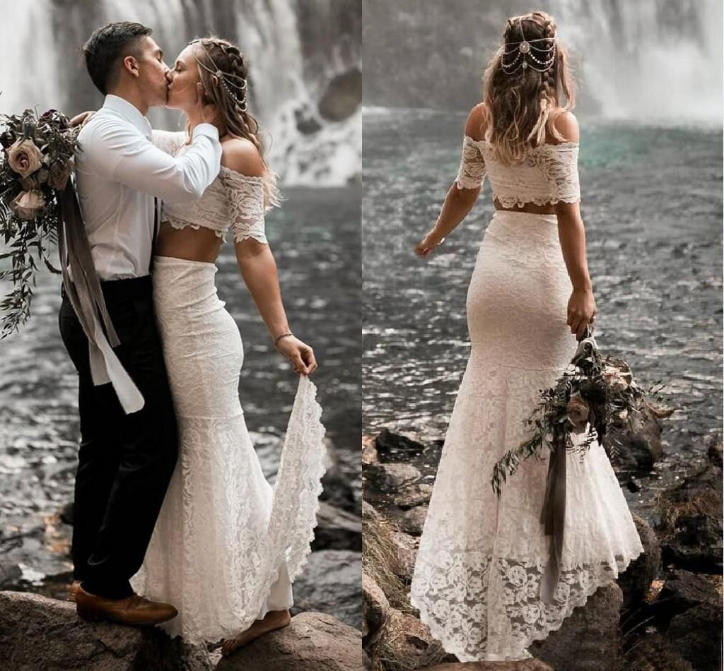 White Lace Two Piece Beach Wedding Dresses 2020 Gorgeous Off The