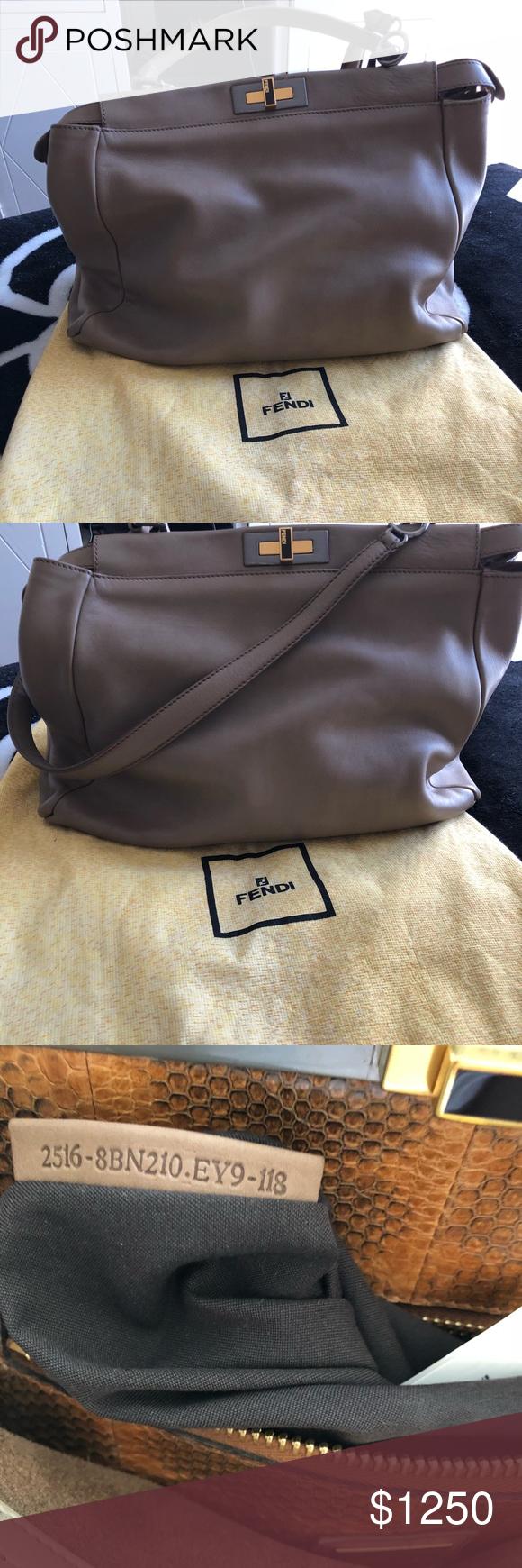 416442a5ff Fendi leather peekaboo purse Authentic fendi mirtile vitello saddle leather  large peekaboo bag Made of soft