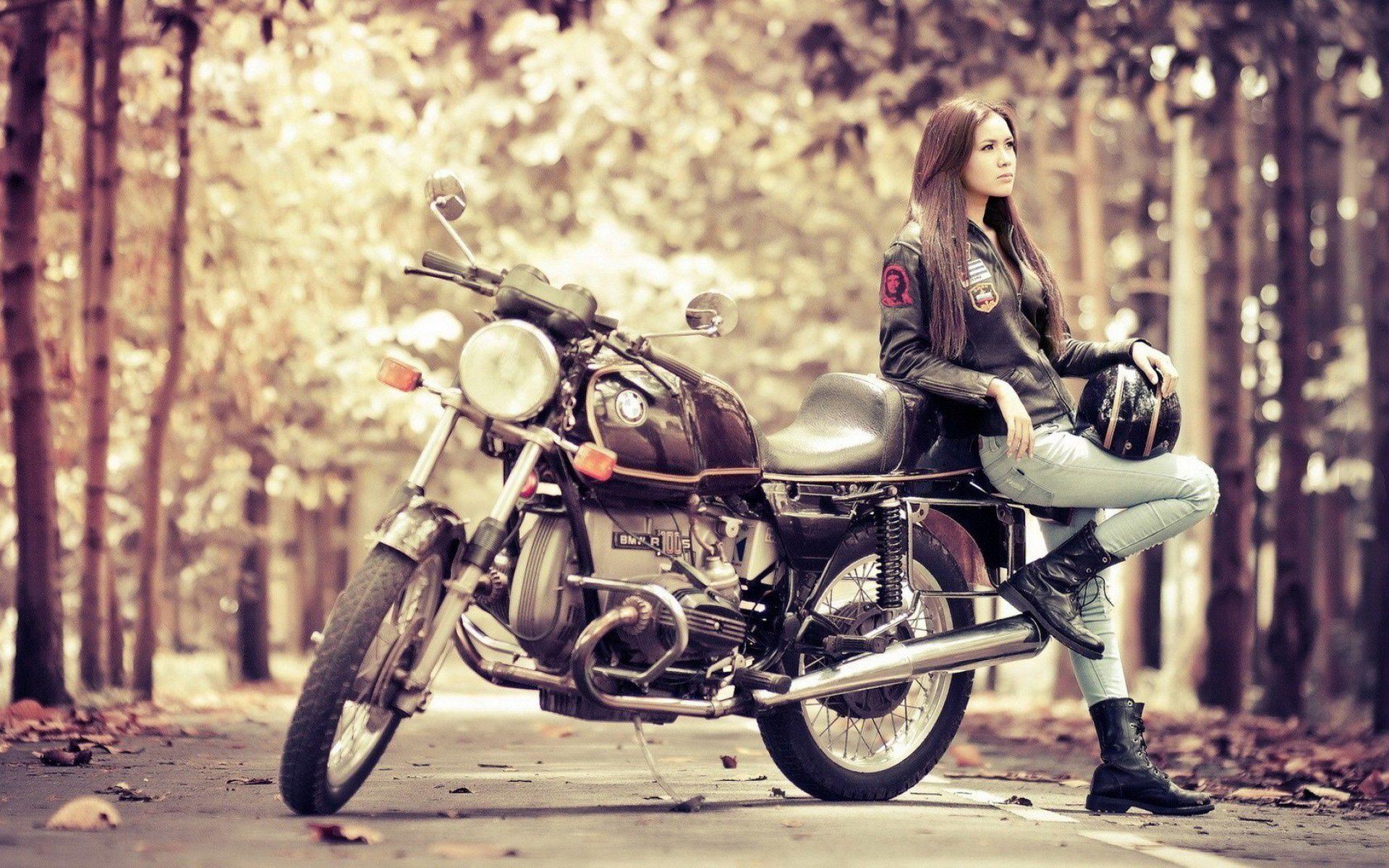 Biker Girl Wallpaper Girl Motorcycle BMW R100S