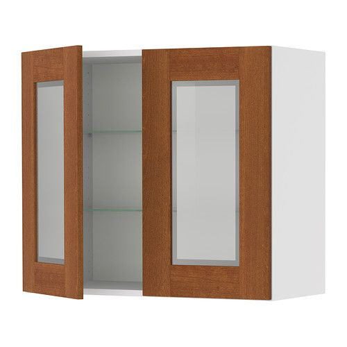 AKURUM Wall Cabinet With 2 Glass Doors   Birch Effect, Ädel Medium Brown,  30x30